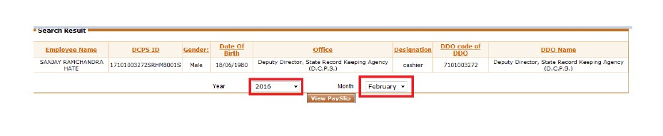 Pay Slip - Select Month & Year